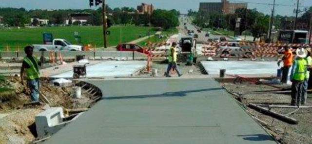 Roadway being paved in Lawrence, Kansas