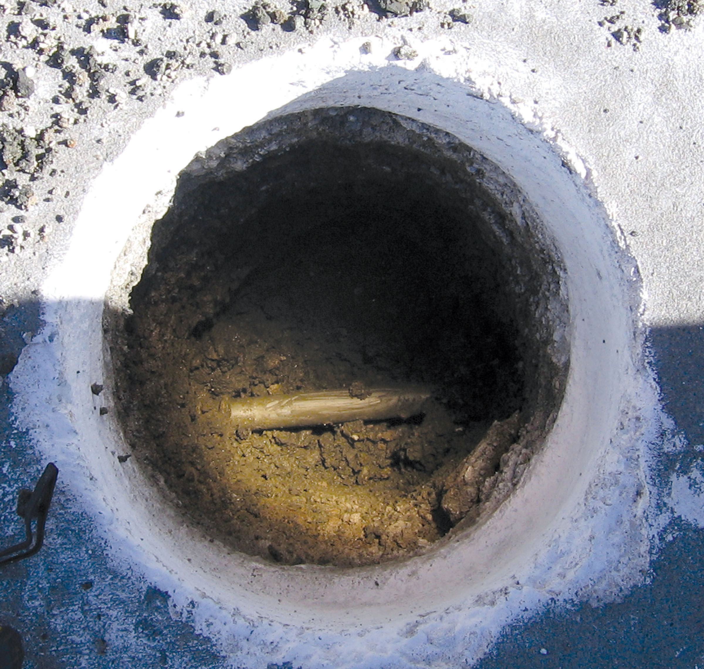 Typical vacuum excavation hole